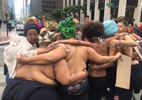 Bare Chested BLM Action
